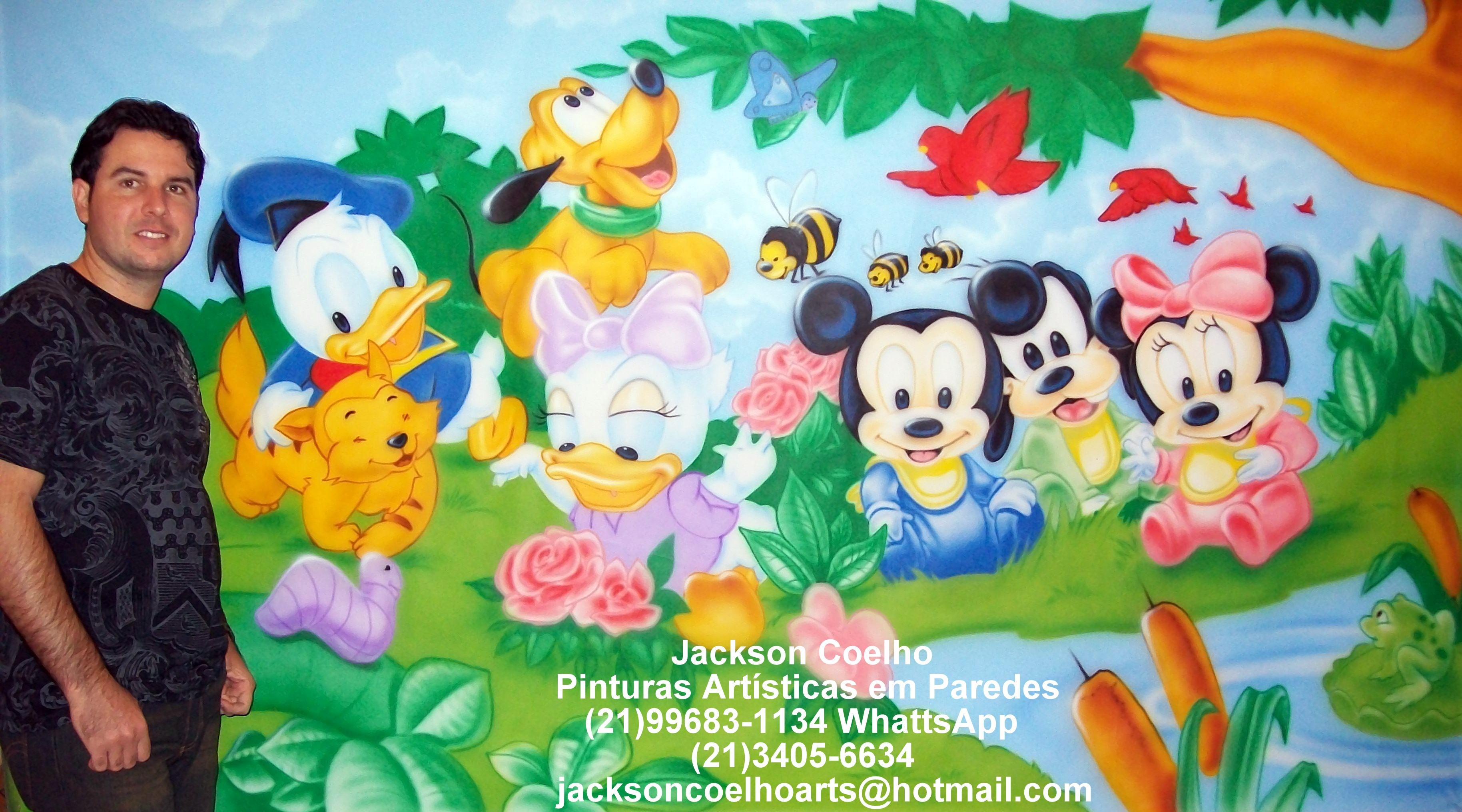 Pintura Decorativa Em Parede De Quarto De Beb Mickey E Sua Turma  ~ Papel De Parede Para Quarto Infantil Personagens